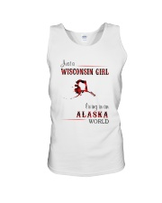 WISCONSIN GIRL LIVING IN ALASKA WORLD Unisex Tank thumbnail