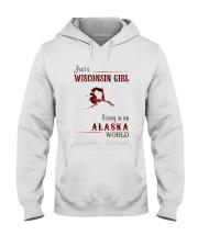 WISCONSIN GIRL LIVING IN ALASKA WORLD Hooded Sweatshirt thumbnail