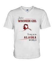 WISCONSIN GIRL LIVING IN ALASKA WORLD V-Neck T-Shirt thumbnail