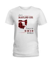 MARYLAND GIRL LIVING IN OHIO WORLD Ladies T-Shirt thumbnail