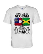 LIVE IN GEORGIA BEGAN IN JAMAICA V-Neck T-Shirt thumbnail