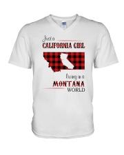CALIFORNIA GIRL LIVING IN MONTANA WORLD V-Neck T-Shirt thumbnail