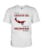 AMERICAN GIRL LIVING IN PRINCE EDWARD WORLD V-Neck T-Shirt thumbnail
