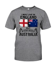 LIVE IN ENGLAND BEGAN IN AUSTRALIA Classic T-Shirt tile