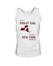 PHILLY GIRL LIVING IN NEW YORK WORLD Unisex Tank thumbnail