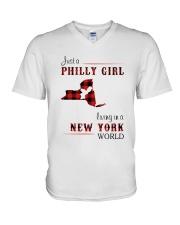 PHILLY GIRL LIVING IN NEW YORK WORLD V-Neck T-Shirt thumbnail