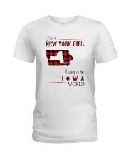 NEW YORK GIRL LIVING IN IOWA WORLD Ladies T-Shirt thumbnail