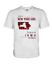 NEW YORK GIRL LIVING IN IOWA WORLD V-Neck T-Shirt thumbnail