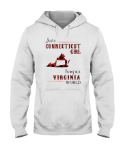 CONNECTICUT GIRL LIVING IN VIRGINIA WORLD Hooded Sweatshirt tile