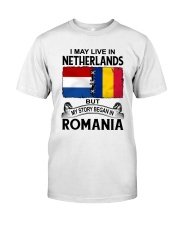 LIVE IN NETHERLANDS BEGAN IN ROMANIA ROOT WOMEN Classic T-Shirt tile