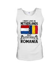 LIVE IN NETHERLANDS BEGAN IN ROMANIA ROOT WOMEN Unisex Tank thumbnail