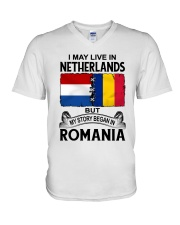 LIVE IN NETHERLANDS BEGAN IN ROMANIA ROOT WOMEN V-Neck T-Shirt thumbnail