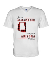 ALABAMA GIRL LIVING IN ARIZONA WORLD V-Neck T-Shirt thumbnail