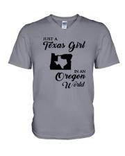 JUST A TEXAS GIRL IN AN OREGON WORLD V-Neck T-Shirt thumbnail