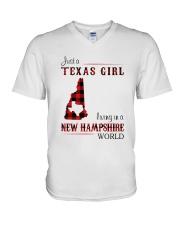 TEXAS GIRL LIVING IN NEW HAMPSHIRE WORLD V-Neck T-Shirt thumbnail