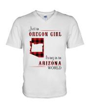 OREGON GIRL LIVING IN ARIZONA WORLD V-Neck T-Shirt thumbnail