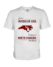 MICHIGAN GIRL LIVING IN NORTH CAROLINA WORLD V-Neck T-Shirt thumbnail