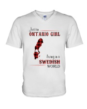ONTARIO GIRL LIVING IN SWEDISH WORLD V-Neck T-Shirt tile