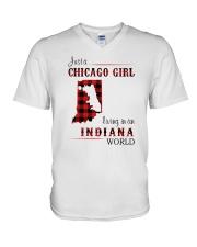 CHICAGO GIRL LIVING IN INDIANA WORLD V-Neck T-Shirt thumbnail