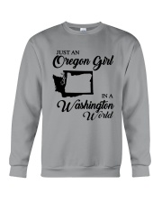 JUST AN OREGON GIRL IN A WASHINGTON WORLD Crewneck Sweatshirt thumbnail