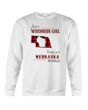 WISCONSIN GIRL LIVING IN NEBRASKA WORLD Crewneck Sweatshirt thumbnail