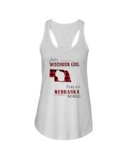 WISCONSIN GIRL LIVING IN NEBRASKA WORLD Ladies Flowy Tank thumbnail