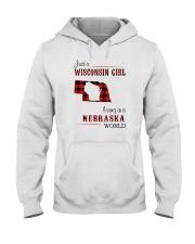 WISCONSIN GIRL LIVING IN NEBRASKA WORLD Hooded Sweatshirt thumbnail