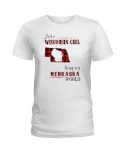 WISCONSIN GIRL LIVING IN NEBRASKA WORLD Ladies T-Shirt thumbnail