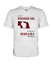 WISCONSIN GIRL LIVING IN NEBRASKA WORLD V-Neck T-Shirt thumbnail