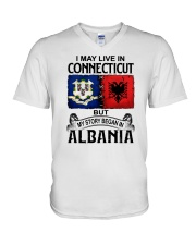 LIVE IN CONNECTICUT BEGAN IN ALBANIA V-Neck T-Shirt thumbnail