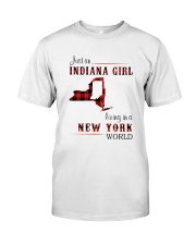 INDIANA GIRL LIVING IN NEW YORK WORLD Classic T-Shirt front