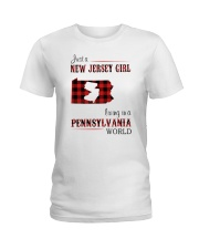 JERSEY GIRL LIVING IN PENNSYLVANIA WORLD Ladies T-Shirt thumbnail