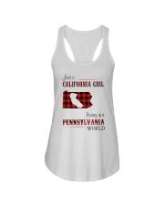CALIFORNIA GIRL LIVING IN PENNSYLVANIA WORLD Ladies Flowy Tank thumbnail