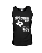 JUST A SOUTH CAROLINA GUY LIVING IN TEXAS WORLD Unisex Tank thumbnail
