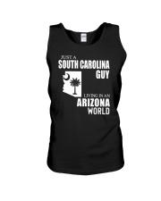 JUST A SOUTH CAROLINA GUY LIVING IN ARIZONA WORLD Unisex Tank thumbnail