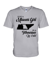 JUST A MISSOURI GIRL IN A TENNESSEE WORLD V-Neck T-Shirt thumbnail