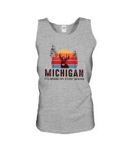 MICHIGAN IT'S WHERE MY STORY BEGINS Unisex Tank thumbnail