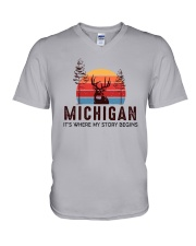MICHIGAN IT'S WHERE MY STORY BEGINS V-Neck T-Shirt tile