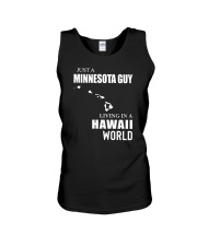 JUST A MINNESOTA GUY LIVING IN HAWAII WORLD Unisex Tank thumbnail