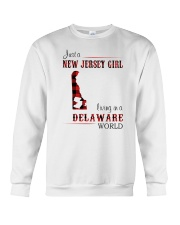 JERSEY GIRL LIVING IN DELAWARE WORLD Crewneck Sweatshirt thumbnail