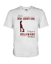 JERSEY GIRL LIVING IN DELAWARE WORLD V-Neck T-Shirt thumbnail
