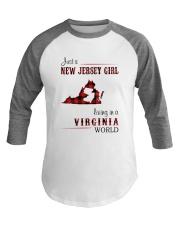 JERSEY GIRL LIVING IN VIRGINIA WORLD Baseball Tee thumbnail