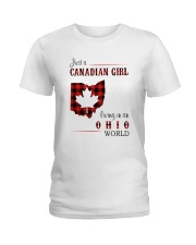 CANADIAN GIRL LIVING IN OHIO WORLD Ladies T-Shirt thumbnail