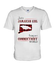 JAMAICAN GIRL LIVING IN CONNECTICUT WORLD V-Neck T-Shirt thumbnail