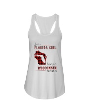 FLORIDA GIRL LIVING IN WISCONSIN WORLD Ladies Flowy Tank tile