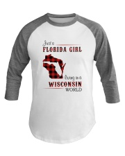 FLORIDA GIRL LIVING IN WISCONSIN WORLD Baseball Tee tile