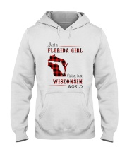 FLORIDA GIRL LIVING IN WISCONSIN WORLD Hooded Sweatshirt thumbnail