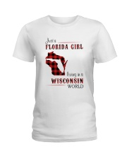 FLORIDA GIRL LIVING IN WISCONSIN WORLD Ladies T-Shirt thumbnail
