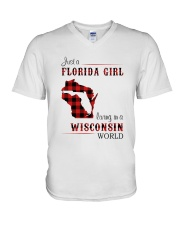 FLORIDA GIRL LIVING IN WISCONSIN WORLD V-Neck T-Shirt thumbnail