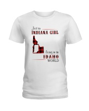 INDIANA GIRL LIVING IN IDAHO WORLD Ladies T-Shirt tile